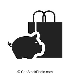 piggy moneybox icon - piggy moneybox with shopping bag icon...