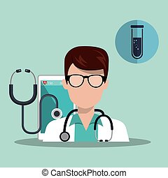 avatar medical doctor man with stethoscope and medicine icon...