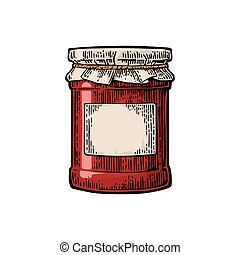 Glass Jar with jam and packaging paper Vector color vintage...
