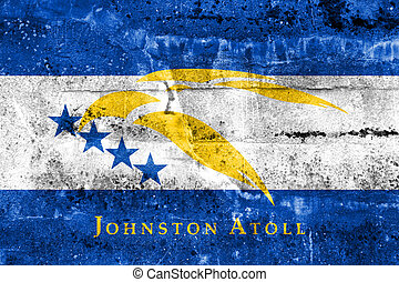 Flag of Johnston Atoll, USA, painted on dirty wall