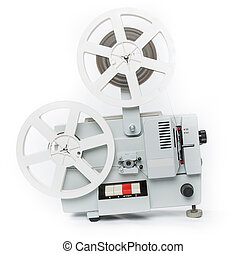 Old film projector isolated on a white background