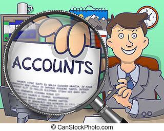 Accounts through Magnifier Doodle Concept - Officeman Shows...