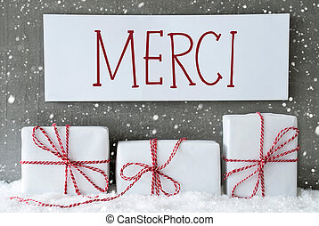 White Gift With Snowflakes, Merci Means Thank You - Label...