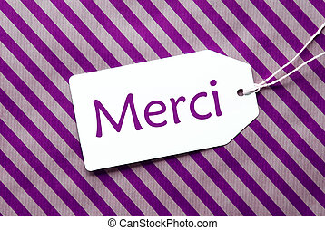 Label On Purple Wrapping Paper, Merci Means Thank You - One...