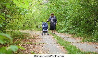 grandmother with grandson walk in the Park