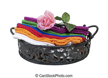 Colorful Guest Towels with a Rose