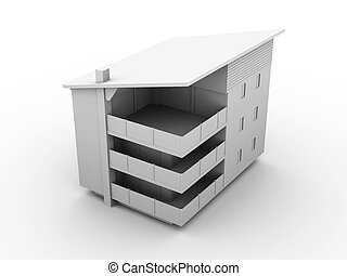 Modern building - 3D rendered Illustration