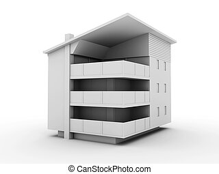 Modern building - 3D rendered Illustration