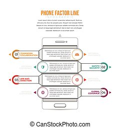 Phone Factor Line Infographic - Vector illustration of phone...