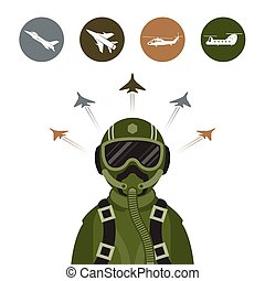Military Fighter Jet Pilot - with Military Aircraft Icons...