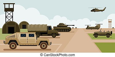 Military Base Camp, Side View - with Army and Air Force...