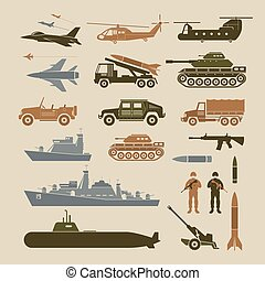 Military Vehicles Object Symbols Set, Side View - Army, Air...