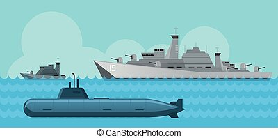 Warship and Submarine, Side View in the Sea - Navy, Patrol...