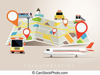 Map with Mode of Transport - Plane, Train, Boat, Bus,...