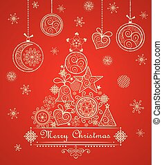Vintage greeting christmas red card with decorative lacy...