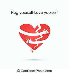 Broken heart icon.Hug yourself or Love yourself logo.Love and Heart Care logo.Heart shape and healthcare & medical concept.