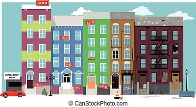 Gentrification - Urban street view with renovated condo...