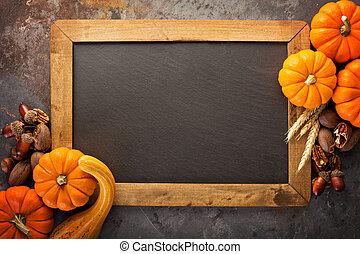 Fall chalkboard frame with pumpkins - Fall chalkboard frame...