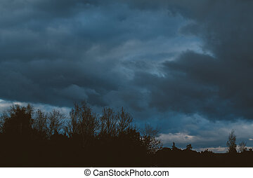 storm clouds over the forest. gloomy sky over silhouette of...