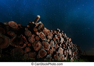 Tree trunks stacked against the night sky