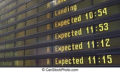 Timetable digital board at an airport - Timetable digital...
