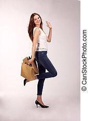 imagen,  Biodegradable, mujer, compras, encantador, bolsa