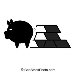 piggy moneybox icon - piggy moneybox with bars of gold icon...