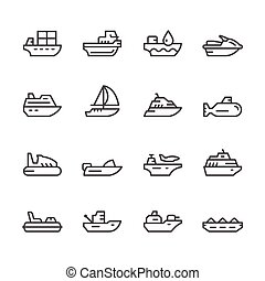Set line icons of water transport isolated on white. Vector...