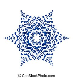 Hand-drawn doodles natural blue color snowflake. Zentangle...