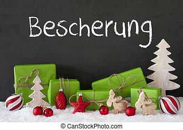 navidad, decoración, cemento, nieve, Bescherung, medios,...