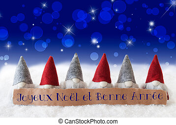 Gnomes, Blue Bokeh, Stars, Bonne Annee Means New Year -...