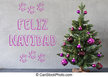 Tree, Cement Wall, Text Feliz Navidad Means Merry Christmas...