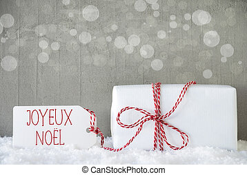 Gift, Cement Background With Bokeh, Joyeux Noel Means Merry...