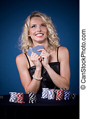 poker girl - a young woman playing poker