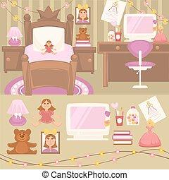 Set of furniture for girls. Design of bedroom. Pink color...