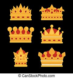 Set of gold crown flat icons.