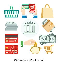 Vector set of banking icons - Vector finance set of banking...