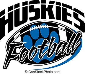 huskies football team design with paw print for school,...