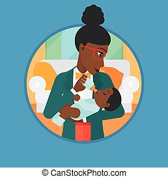 Mother feeding baby vector illustration. - An...