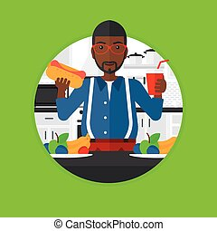 Man eating fast food vector illustration. - An...