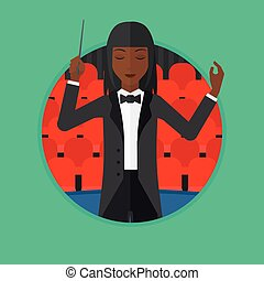 Conductor directing with baton vector illustration -...
