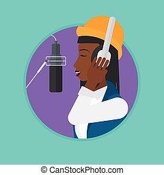 Singer recording song vector illustration.