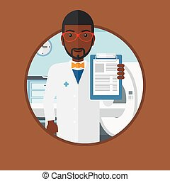 Doctor with clipboard and MRI machine. - An african-american...