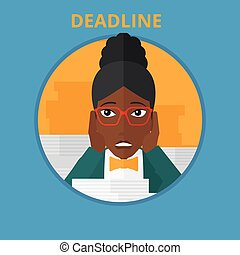 Business woman having problem with deadline. -...