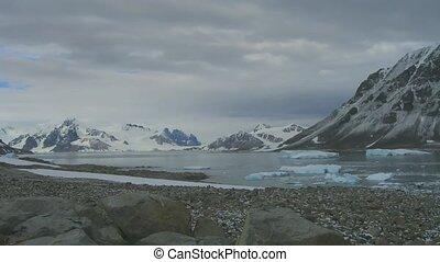 Time lapse Stonington Island in Antarctica Icebergs,...