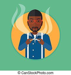 Young man quitting smoking vector illustration - An...