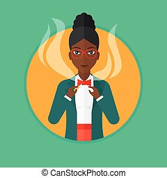 Young woman quitting smoking vector illustration. - An...