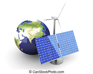 Alternative Energy - Asia - 3D rendered Illustration...