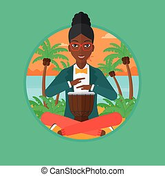Woman playing ethnic drum vector illustration - An...