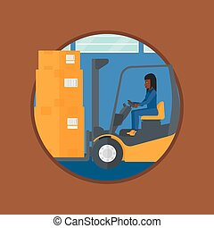 Warehouse worker moving load by forklift truck. - An...